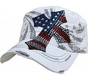 White Rhinestone Flag Cross Hat