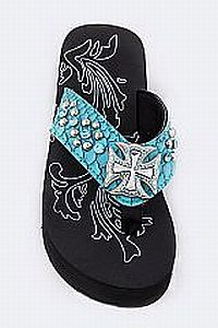 Rhinestone Teal Chopper Cross Flip Flops          #FG-AG52Teal