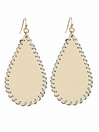 Ivory Faux Leather Earrings  #RI-Ivory