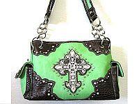 Green Rhinestone Cross Western Handbag           #LG-MS008Green
