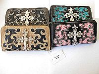 Embroidered Western Rhinestone Cross Wallets               #LGH-CHF-1689