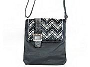 Black Chevron Rhinestone Belt Messenger Bag                  #LGH-8470BK