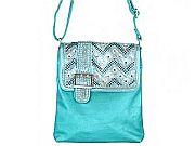 Turquoise Chevron Rhinestone Belt Messenger Bag        #LGH-8470BL