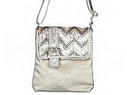 Gray Silver Chevron Rhinestone Belt Messenger Bag              #LGH-8470GY
