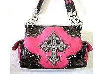 Hot Pink Rhinestone Cross Western Handbag                  #LGH-MS008HPK
