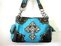 Turquoise Blue Rhinestone Cross Western Handbag              #LGH-MS008TQ
