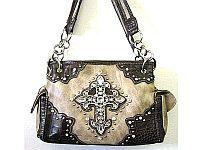 Tan Rhinestone Cross Western Handbag             #LGH-MS008TAN