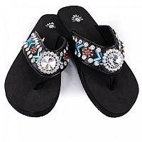 Isabella Blue Aztec Round Gem Flip Flops           #LGH-S064BL