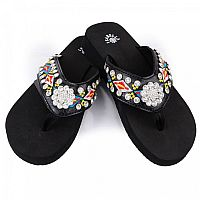 Isabella Red Yellow Blue Aztec Flower Flip Flops   #LGH-S067