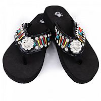 Isabella Stripe Red Yellow Blue Aztec Flower Flip Flops  #LGH-S070
