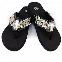 Isabella Yellow Blue Aztec Cross Flip Flops     #LGH-S072