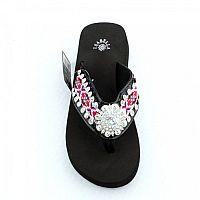 Isabella Pink Aztec Round Flower Flip Flops    #LGH-S087