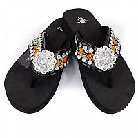 Isabella Orange Aztec Flower Flip Flops      #LGH-S088