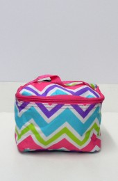Multi Colored Pink Turquoise Green  Chevron Cosmetic Bag   # LU-008-CV-MUL-PK