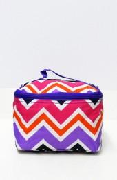 Multi Colored Pink Orange Purple Chevron Cosmetic Bag    #LU-008-CV-MUL-PU