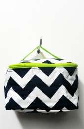 Black Green Chevron Cosmetic Bag           #LU-DSCN2436BLKGR