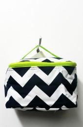 Black Green Chevron Cosmetic Bag           #LU-DSCN2436BLKGR