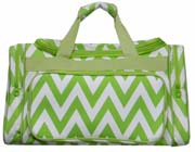 Large Chevron Green Duffel Bag