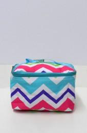 Multi Aqua Purple Pink Chevron Cosmetic Bag         #LU-HJQ277-AQUA