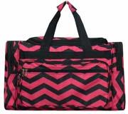 Large Hot Pink Chevron Duffel Bag