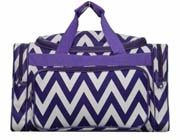 Large Purple Chevron Duffel Bag