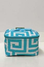 Aqua Geometric Cosmetic Bag              #LU-UHA277-AQUA