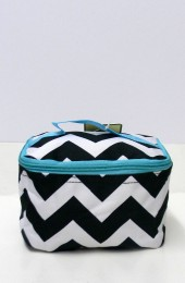 Black Turquoise Chevron Cosmetic Bag       #LU-ZIB277-AQUA-BL