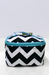Black Turquoise Chevron Cosmetic Bag       #LU-ZIB277-AQUA-BL