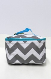 Gray Turquoise Chevron Cosmetic Bag    #LU-ZIB277-AQUA-GR