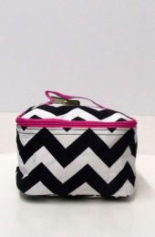 Black Hot Pink Chevron Cosmetic Bag        #LU-ZIB277-HPINK