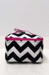 Black Hot Pink Chevron Cosmetic Bag        #LU-ZIB277-HPINK