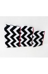 Set of 3 Black Hot Pink Chevron Cosmetic Bags           #LU-ZIB2929-HPINK