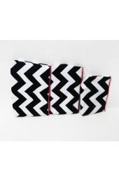 Set of 3 Black Hot Pink Chevron Cosmetic Bags           #LU-ZIB2929-HPINK