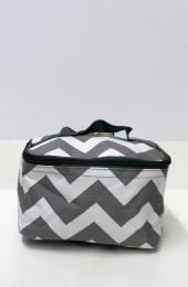 Gray Chevron Cosmetic Bag              #LU-ZIG277-GRAY