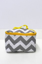 Gray Yellow Chevron Cosmetic Bag      #LU-ZIG277-YEL