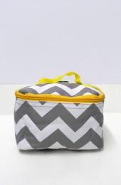 Gray Yellow Chevron Cosmetic Bag      #LU-ZIG277-YEL