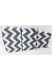 Set of 3 Gray Aqua Chevron Cosmetic Bags        #LU-ZIG2929-AQUA-GRAY