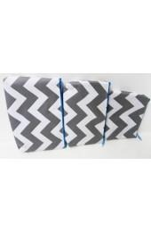 Set of 3 Gray Aqua Chevron Cosmetic Bags        #LU-ZIG2929-AQUA-GRAY