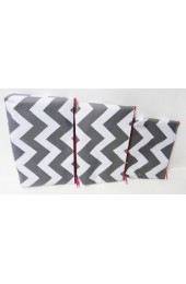 Set of 3 Gray Hot Pink Chevron Cosmetic Bags       #LU-ZIG2929-HPGRAY