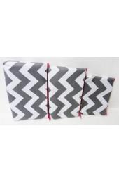 Set of 3 Gray Hot Pink Chevron Cosmetic Bags       #LU-ZIG2929-HPGRAY