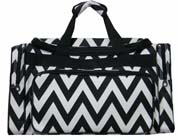 Large Black Chevron Duffel Bag