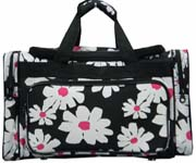 Large Black White Pink Flower Duffel Bag