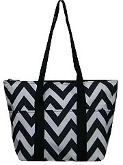 Black Insulated Chevron Lunch Travel Bag