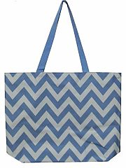 Large Light Blue Chevron Tote Bag