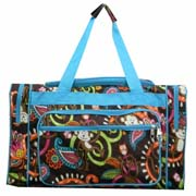 Large Turquoise Monkey Duffel Bag
