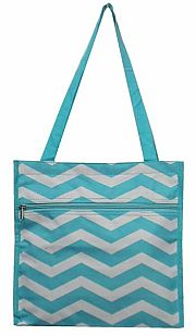 Small Turquoise Chevron Tote Bag