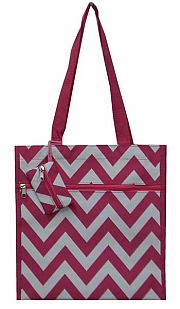 Small Darker Hot Pink Chevron Tote Bag