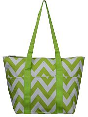 Lime Green Chevron Insulated Lunch Travel Bag