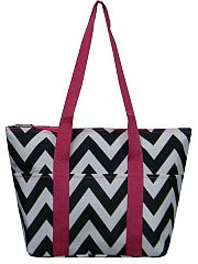 Hot Pink & Black Chevron Insulated Travel Bag