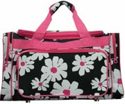 Large Pink White Flower Duffel Bag